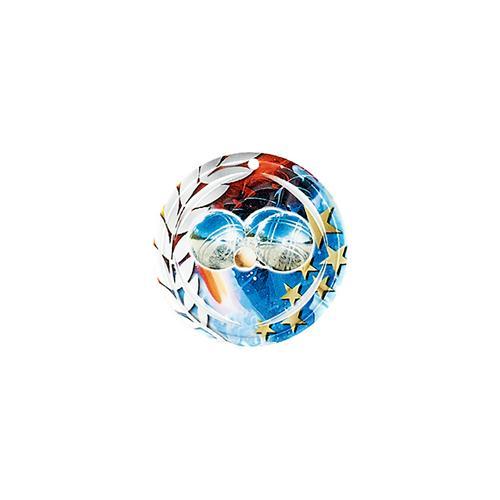 Médaille pétanque bleu et rouge avec étoiles et couronne laurier - céramique et ruban bleu inclus - 70mm.