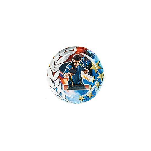 Médaille tennis table bleu et rouge avec étoiles et couronne laurier - céramique et ruban bleu inclus - 70mm.