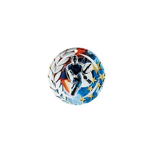 Médaille rugby bleu et rouge avec étoiles et couronne laurier - céramique et ruban bleu inclus - 70mm.