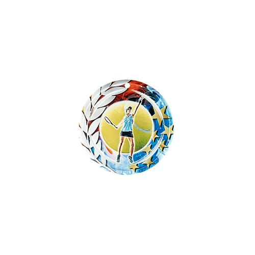 Médaille tennis femme bleu et rouge avec étoiles et couronne laurier - céramique et ruban bleu inclus - 70mm.