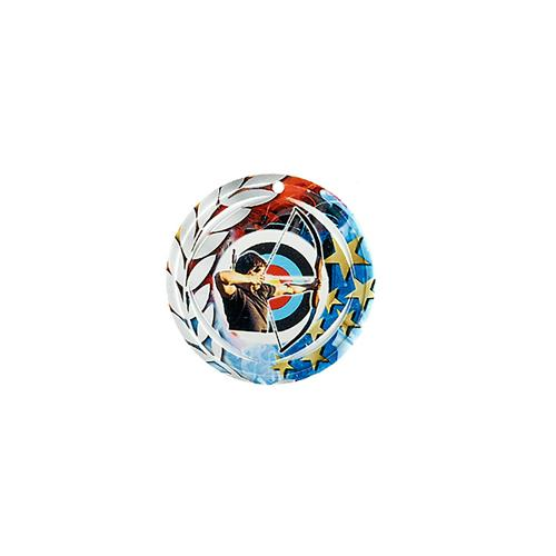 Médaille tir à l'arc bleu et rouge avec étoiles et couronne laurier - céramique et ruban bleu inclus - 70mm.