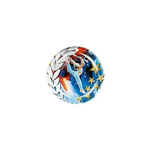 Médaille twirling bleu et rouge avec étoiles et couronne laurier - céramique et ruban bleu inclus - 70mm.