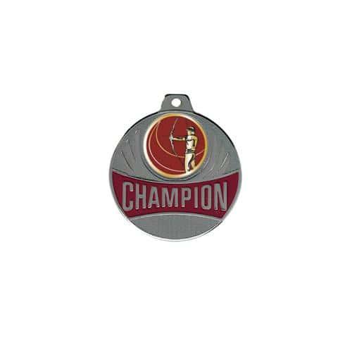 Médaille tir à l'arc argent champion - 50mm.