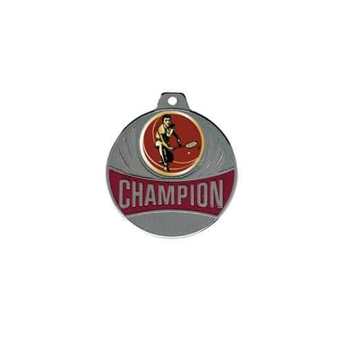 Médaille badminton argent - champion - 50mm.
