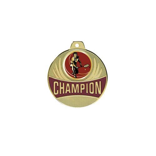 Médaille badminton or champion - 50mm.