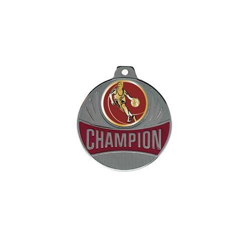 Médaille basket argent champion - 50mm.