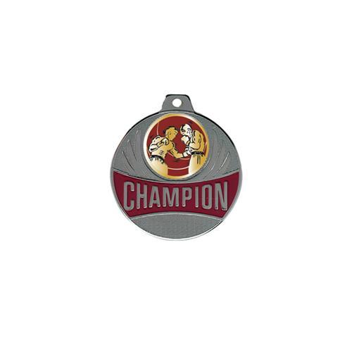 Médaille boxe argent champion - 50mm.