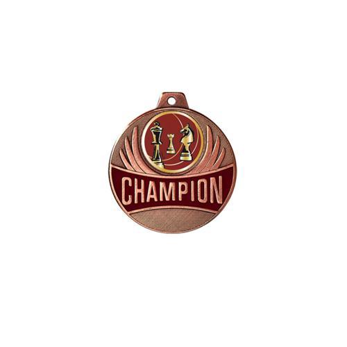 Médaille échecs bronze champion - 50mm.