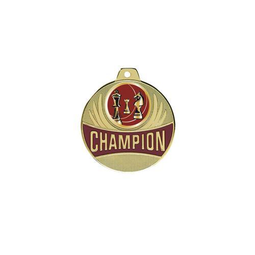 Médaille échecs or - champion - 50mm.