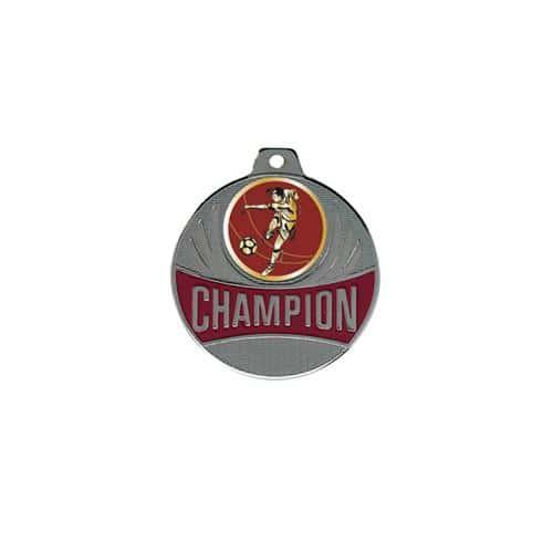 Médaille foot argent champion - 50mm.