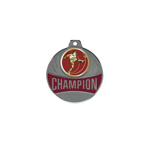 Médaille foot argent - joueur de profil - champion - 50mm.