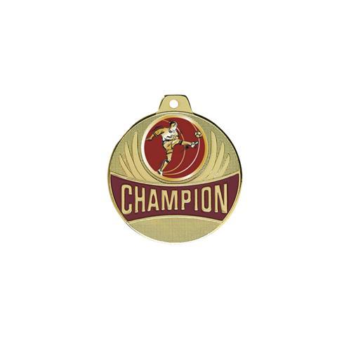 Médaille foot or - joueur de profil - champion - 50mm.
