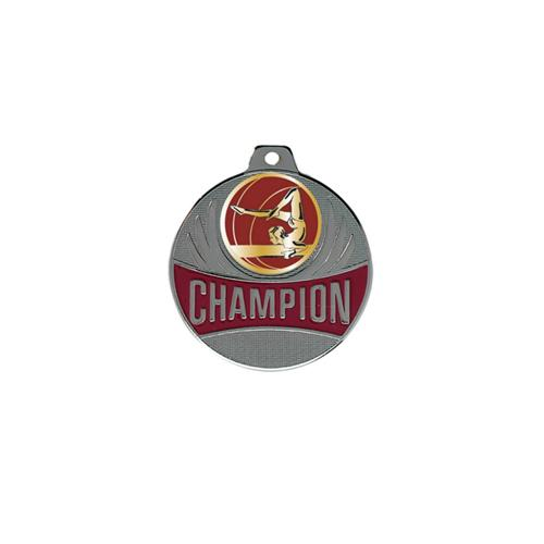 Médaille gym femme argent champion - 50mm.