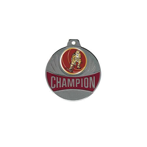 Médaille hockey argent champion - 50mm.