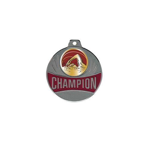 Médaille natation argent champion - 50mm.