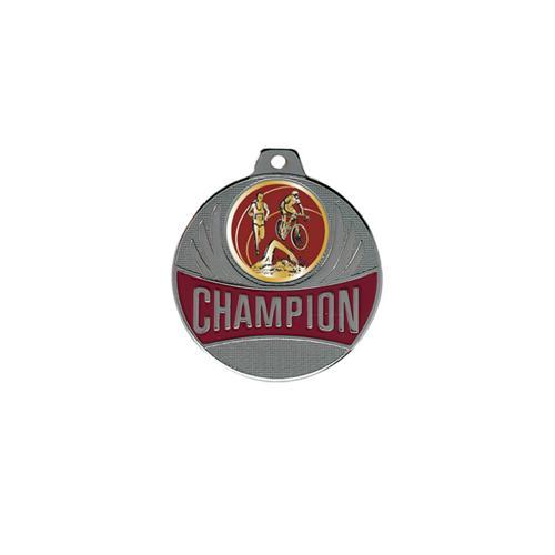 Médaille triathlon argent champion - 50mm.