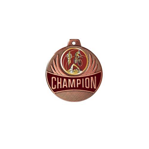Médaille triathlon bronze champion - 50mm.