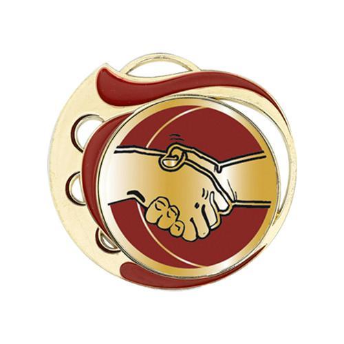 Médaille amitié rouge et or - 70mm.