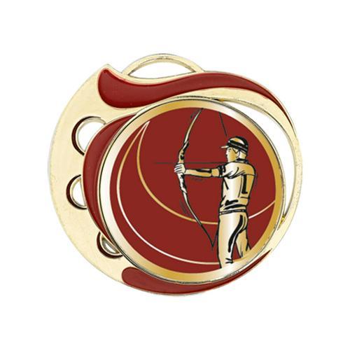 Médaille tir à l'arc rouge et or - 70mm.