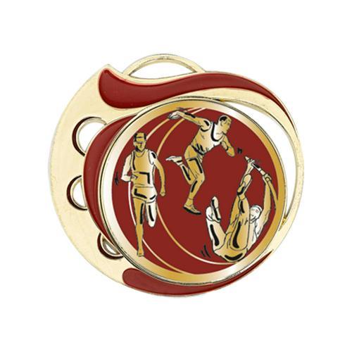 Médaille athlétisme rouge et or - 70mm.
