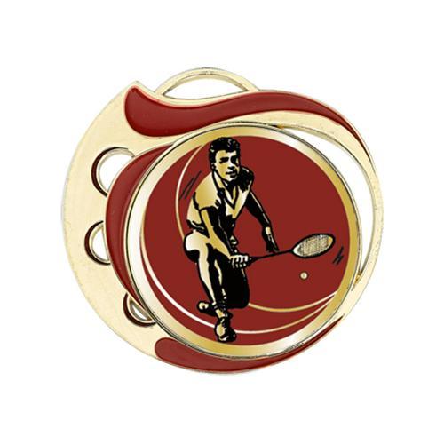 Médaille badminton rouge et or - 70mm.