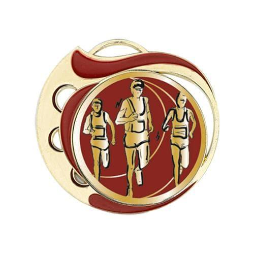 Médaille course à pied rouge et or - 70mm.