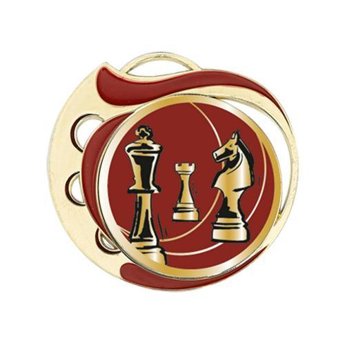 Médaille échecs rouge et or 70mm.