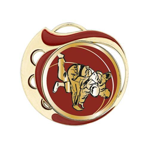 Médaille judo rouge et or 70mm.