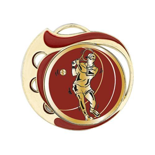 Médaille tennis rouge et or - 70mm.