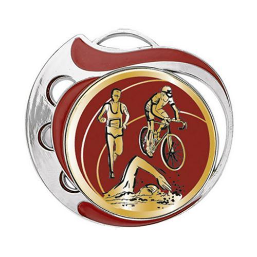 Médaille triathlon rouge et or - 70mm.