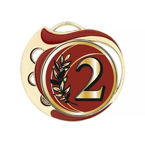Médaille 2ème rouge et or 70mm.