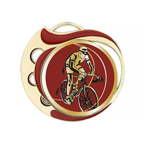 Médaille cyclisme rouge et or - 70mm.