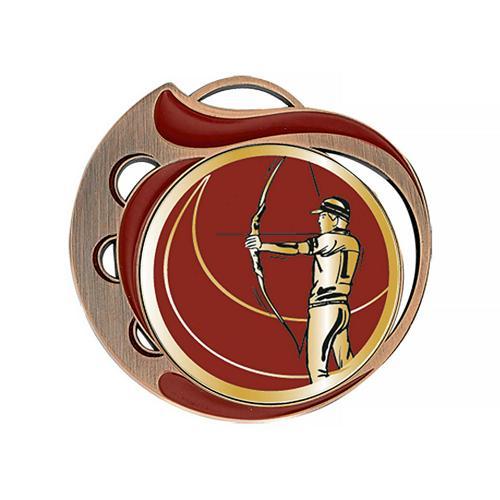 Médaille tir à l'arc rouge et bronze - 70mm.