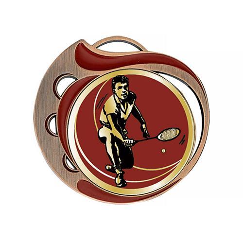 Médaille badminton rouge et bronze - 70mm.