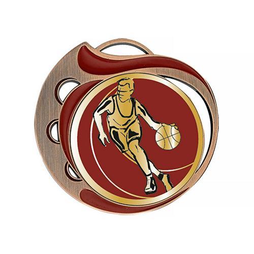 Médaille basket rouge et bronze - 70mm.