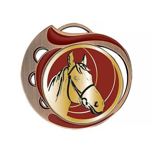 Médaille équitation rouge et bronze - 70mm.