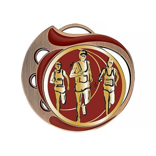 Médaille course à pied rouge et bronze - 70mm.