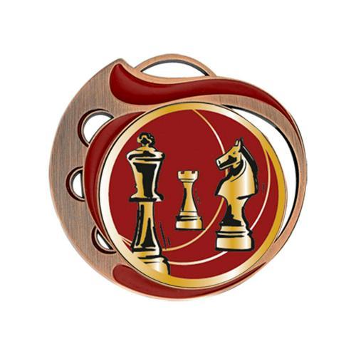 Médaille échecs rouge et bronze - 70mm.