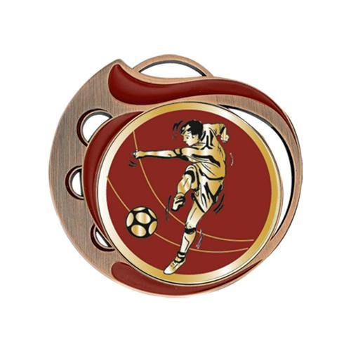 Médaille foot rouge et bronze - 70mm.