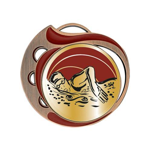 Médaille natation femme rouge et bronze - 70mm.