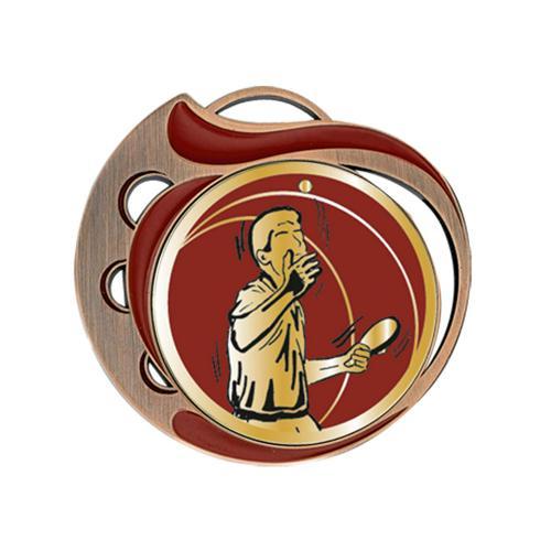 Médaille tennis table rouge et bronze - 70mm.