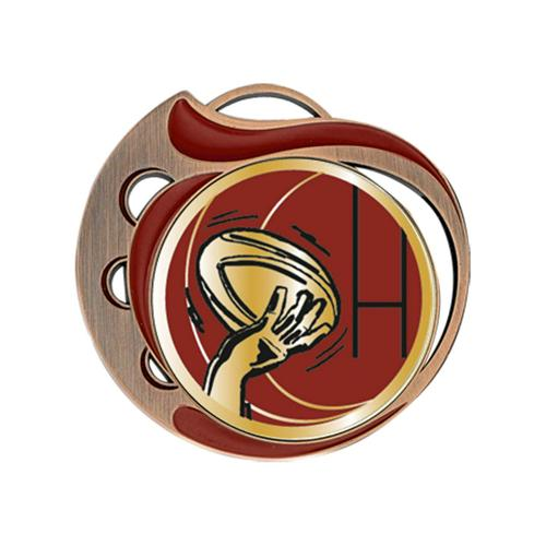 Médaille rugby rouge et bronze - 70mm.