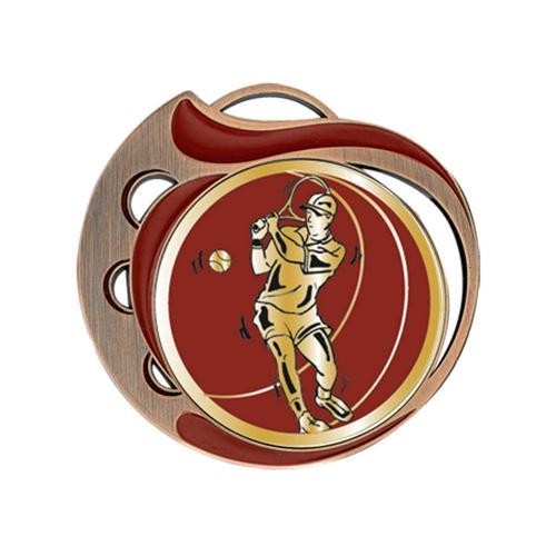 Médaille tennis rouge et bronze - 70mm.