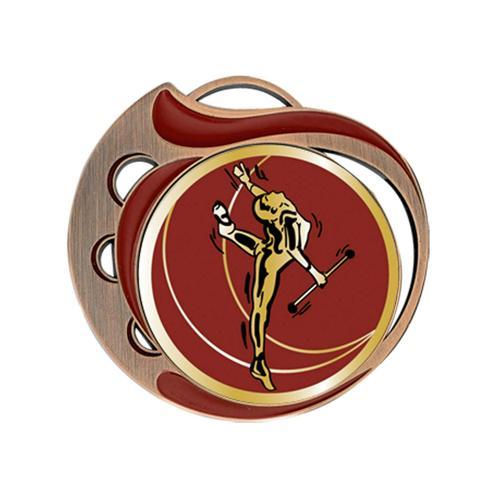 Médaille twirling rouge et bronze - 70mm.