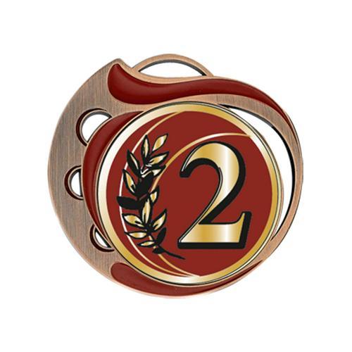 Médaille 2ème rouge et bronze - 70mm.