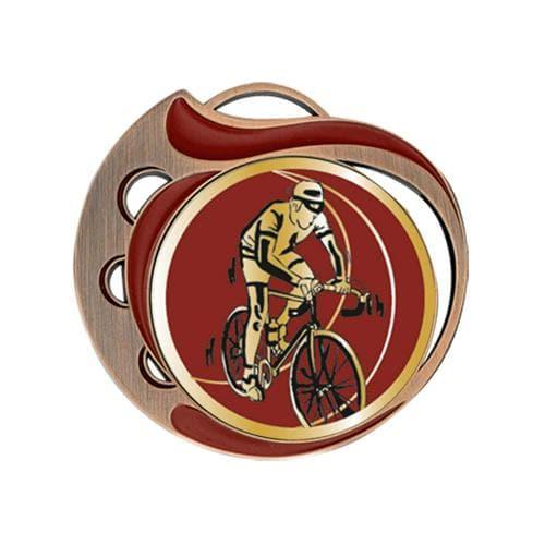 Médaille cyclisme rouge et bronze - 70mm.