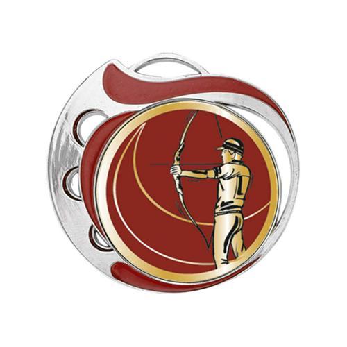 Médaille tir à l'arc rouge et argent - 70mm.