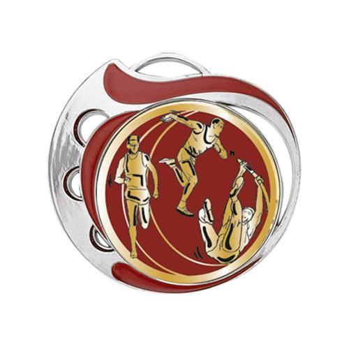 Médaille athlétisme rouge et argent - 70mm.
