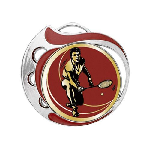 Médaille badminton rouge et argent - 70mm.