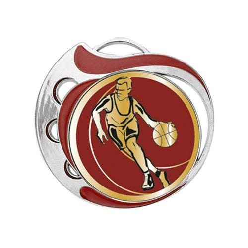 Médaille basket rouge et argent - 70mm.